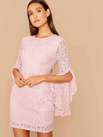 Pastel Pink Round Neck Split Asymmetrical Cuff Lace Overlay Slim Fit Dress