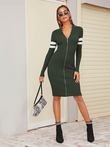 Army Green V-Neck Contrast Panel Zipper Slim Fit Sweater Dress