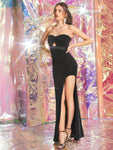 Back Strapless Sleeveless Split Thigh Twist Peekaboo Glitter Tube Dress