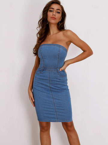 Blue Strapless Sleeveless Zip Back Bodycon Tube Denim Dress