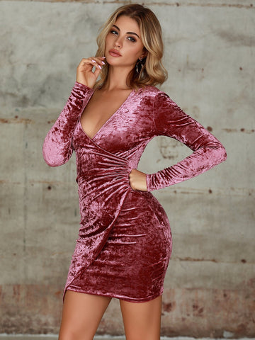 Burgundy Plunge Neck Wrap Velvet Bodycon Dress