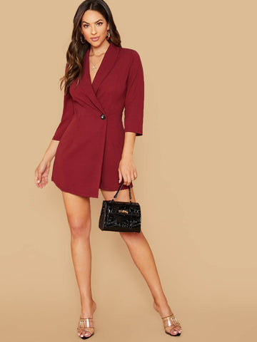 Burgundy High Waist Shawl Collar One Button Wrap Romper Jumpsuit