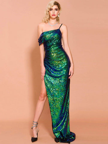 Bright Green Asymmetrical Neck Split Thigh Sequin Prom Dress Gown