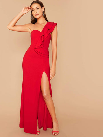 Bright Red Sleeveless One Shoulder Ruffle Trim Split Thigh Prom Dress