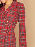 Bright Red Notch Collar Double Breasted Tartan Blazer Dress