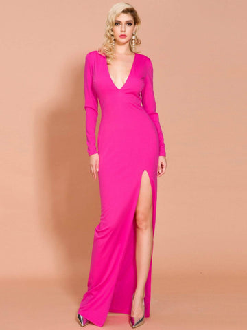 Neon Pink Split Thigh Deep V Neck Prom Dress Gown