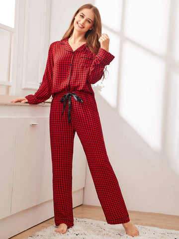 Burgundy Notched Neckline Gingham Button-up Sleepwear Set