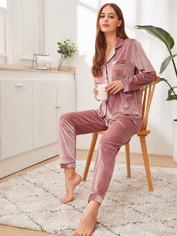 Pink Button-up Velvet Sleepwear Set