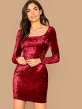 Square Neck Velvet Slim Fit Dress