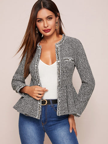 Black and White Pearl Tape Peplum Hem Tweed Jacket