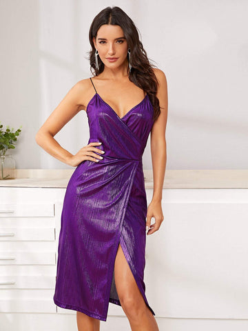 Bright Purple Sleeveless Slim Fit Surplice Front Slit Hem Metallic Cami Dress