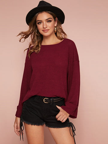 Burgundy Round Neck Drop Shoulder Rolled Cuff Rib-knit Tee Top