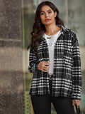 Black and White Plaid Print Button Front Tweed Coat