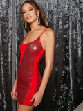 Bright Red Spaghetti Strap Sleeveless Zip Back Cut-and-Sew Sequin Slip Dress