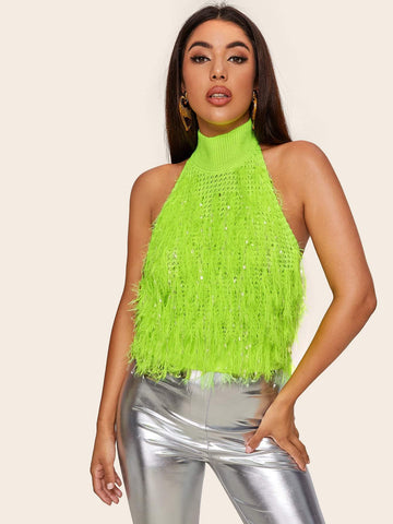 Bright Neon Green Sleeveless Halterneck Fuzzy Knit Top