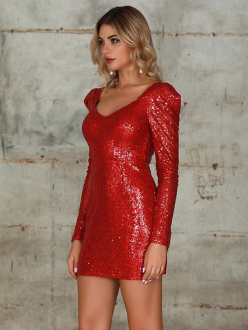 Bright Red Double Crazy Sweetheart Neck Sequin Bodycon Mini Dress