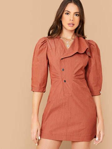 Orange Three Quarter Puff Sleeve Button Front Ruched Detail Dress