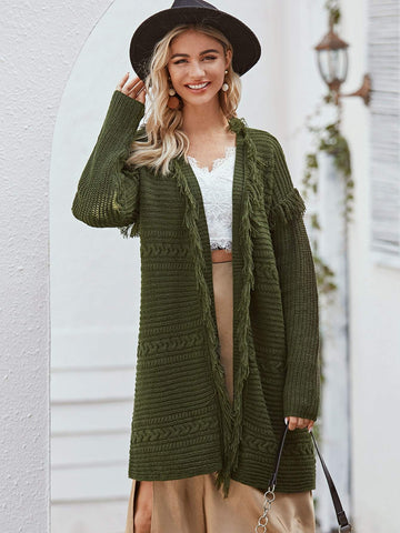 Army Green Open Front Raw Edge Cardigan Sweater