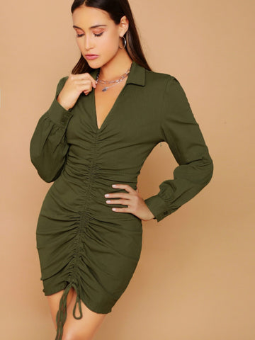 Army Green Slim Fit Collared V-neck Ruched Drawstring Front Dress