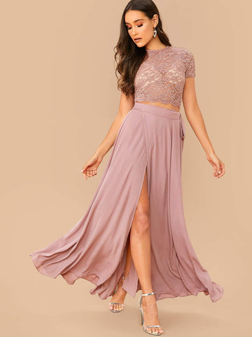 Pastel Pink Round Neck Scallop Edge Lace Top and High Split Skirt Set