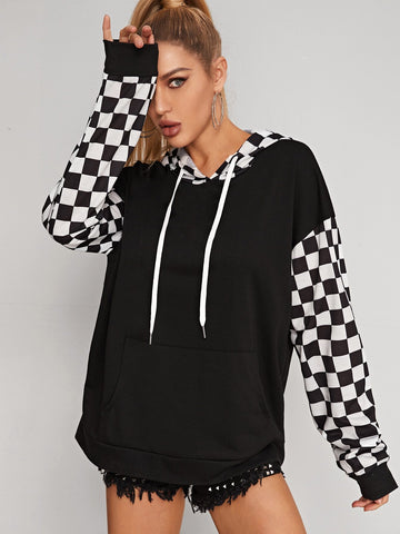 Contrast Checked Plaid Colorblock Drawstring Hoodie
