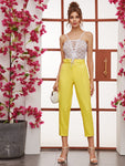 Bright Yellow High Waist Solid Belted Cropped Tailored Pants