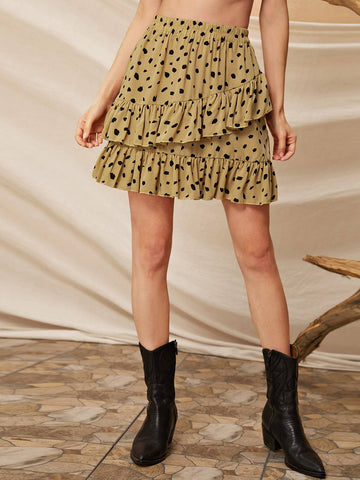 Yellow High Waist Dalmatian Print Ruffle Hem Skirt
