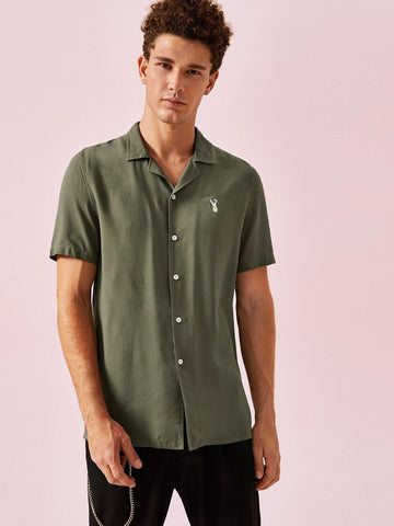 Army Green Embroidery Detail Shirt