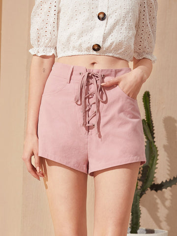 Pastel Pink High Waist Pocket Detail Lace Up Shorts