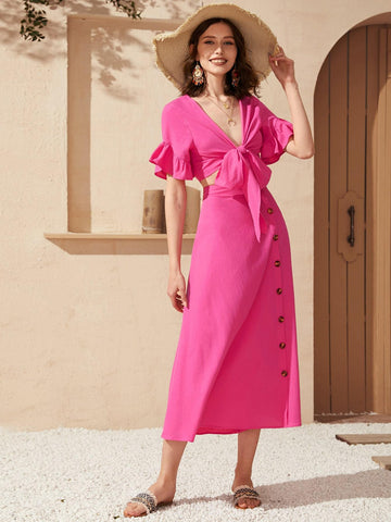 Bright Pink V-Neck Tie Front Flounce Sleeve Top & Button Front Skirt Set