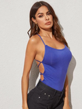 Backless Lace-up Open Back Fitted Top
