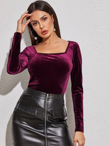 Slim Fit Square Neck Velvet Tee Top
