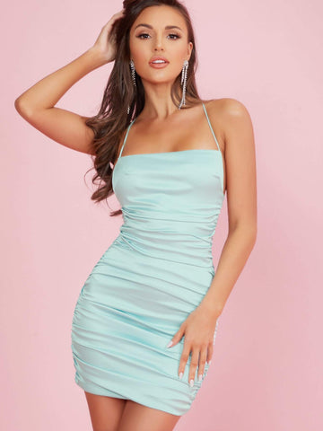 Pastel Blue Sleeveless Satin Ruched Slim Fit Mini Dress