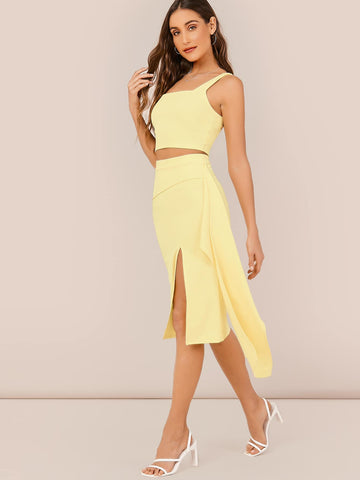 Bright Yellow Sleeveless Crop Tank Top And Draped A-Line Skirt
