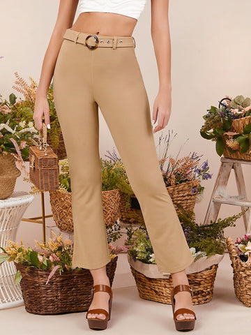 Zipper Fly Mid Waist O-ring Belted Flare Leg Pants