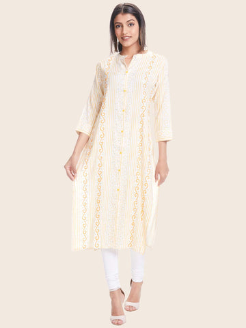 Yellow Three Quarter Sleeve Embroidered Striped Straight Kurta