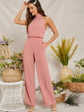 Pastel Pink Sleeveless Open Back Wide Leg Halter Jumpsuit