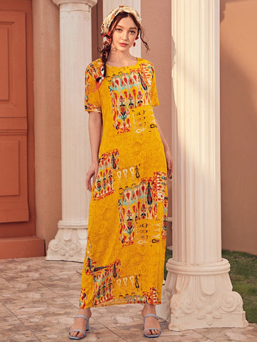 Boho Round Neck Tribal Print Maxi Dress