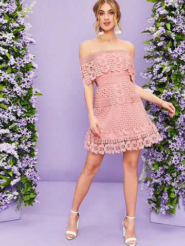 Pastel Pink Foldover Off Shoulder Guipure Lace Dress