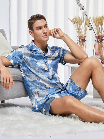 Blue Button Front Crane Print Jacquard Shirt & Shorts Sleepwear Set