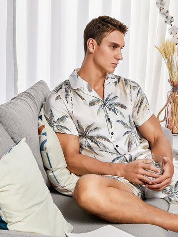 Beige Button Front Coconut Tree Print Shirt & Shorts Sleepwear Set