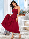 Burgundy Sleeveless Flippy Hem Shirred Halter Dress