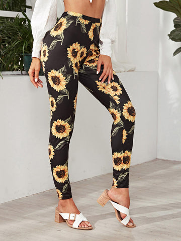 Black Elastic Waist Sunflower Print Leggings