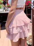 Pastel Pink High Wasit Layered Ruffle Trim Mini Skirt