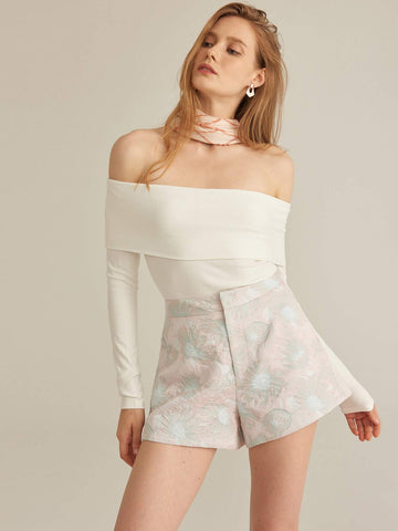 Zipper Fly Floral Jacquard High Waist Shorts