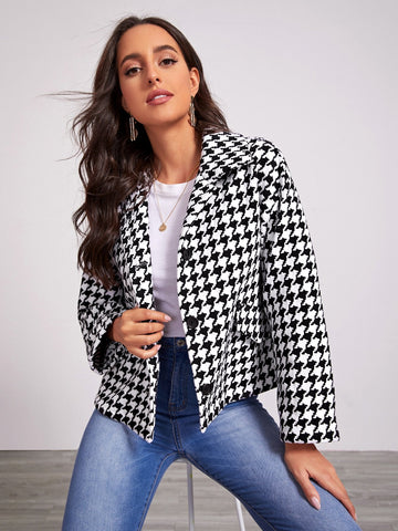 Black and White Single Breasted Notched Collar Drop Shoulder Buttoned Front Houndstooth Tweed Jacket