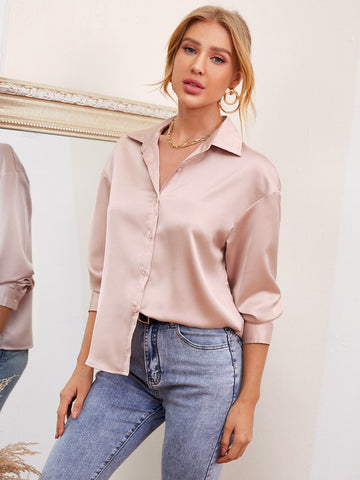 Dusty Pink Front Button Drop Shoulder Solid Satin Blouse Top