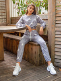 Round Neck Star Pattern Drop Shoulder Pullover and Drawstring Sweatpants Set