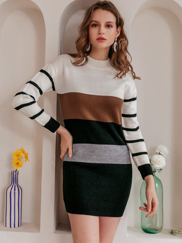 Stand Collar Drop Shoulder Striped Color Block Sweater Dress