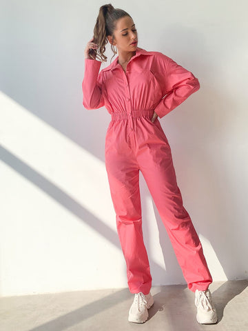 Pink Drop Shoulder High Waist Buttoned Wind Jumpsuit